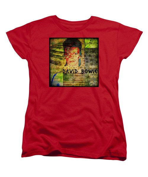 David Bowie Women's T-Shirt (Standard Cut) by Absinthe Art By Michelle LeAnn Scott