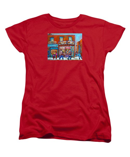 Decarie Hot Dog Restaurant Ville St. Laurent Montreal  Women's T-Shirt (Standard Cut) by Carole Spandau