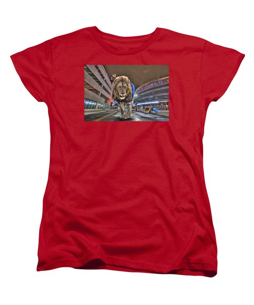 Detroit Lions At Ford Field Women's T-Shirt (Standard Cut) by Nicholas  Grunas