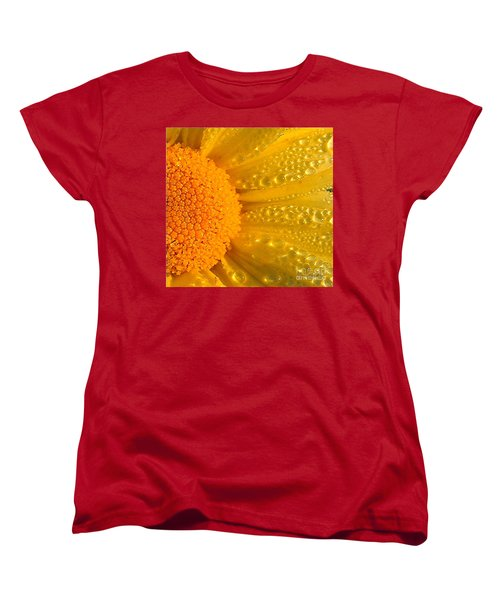 Women's T-Shirt (Standard Cut) featuring the photograph Dew Drops On Daisy by Terri Gostola