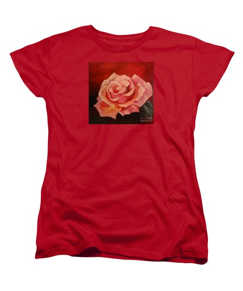 Women's T-Shirt (Standard Cut) featuring the painting Dew Drops On Pink Rose by Jenny Lee