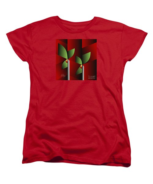 Women's T-Shirt (Standard Cut) featuring the digital art Digital Garden by Leo Symon