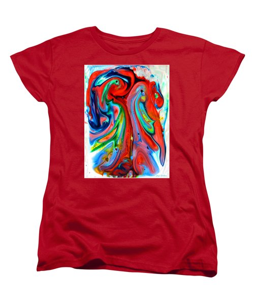 Women's T-Shirt (Standard Cut) featuring the painting Dont Worry  Be Happy by Joyce Dickens