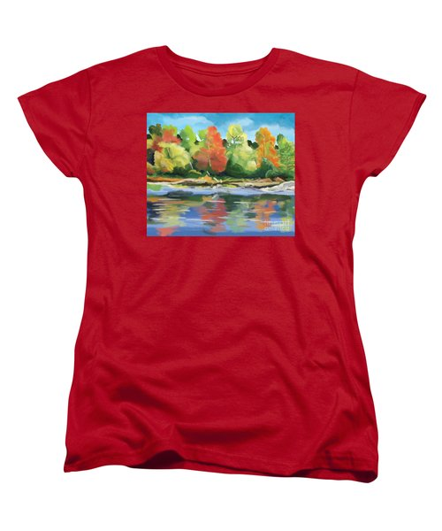 Women's T-Shirt (Standard Cut) featuring the painting Down By The River by Tim Gilliland