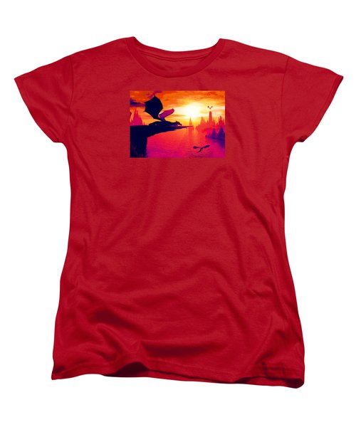 Women's T-Shirt (Standard Cut) featuring the painting Awesome Dragon by David Mckinney