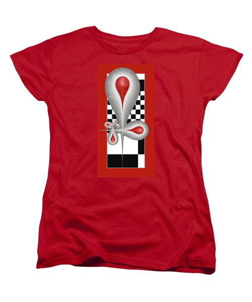 Women's T-Shirt (Standard Cut) featuring the digital art Drops On A Chess Board by Gabiw Art