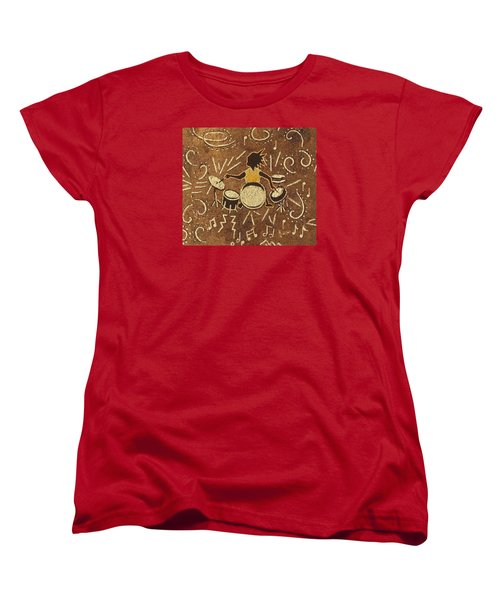 Drummer Women's T-Shirt (Standard Cut) by Katherine Young-Beck