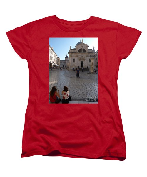 Women's T-Shirt (Standard Cut) featuring the photograph Dubrovnik - Time To Relax by Phil Banks