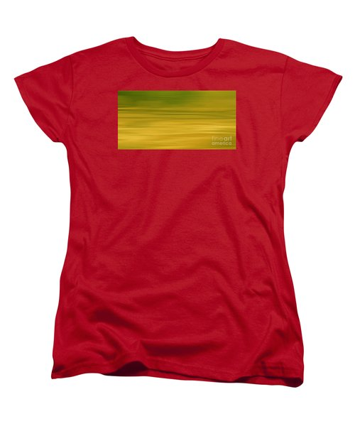 Women's T-Shirt (Standard Cut) featuring the digital art Abstract Earth Motion Lemon Grass by Linsey Williams