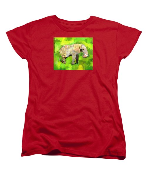 Women's T-Shirt (Standard Cut) featuring the painting Elephant 4 by Jeanne Fischer