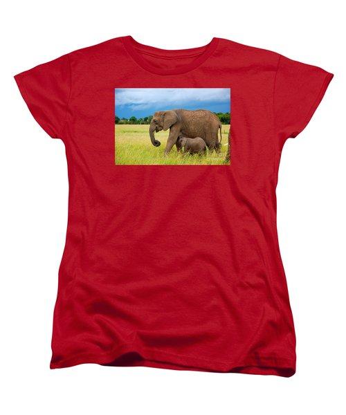 Elephants In Masai Mara Women's T-Shirt (Standard Cut) by Charuhas Images