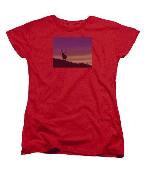 Women's T-Shirt (Standard Cut) featuring the digital art Elk At Dusk by Terry Frederick