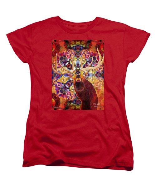 Women's T-Shirt (Standard Cut) featuring the painting Elk Spirits In The Garden by Joseph J Stevens