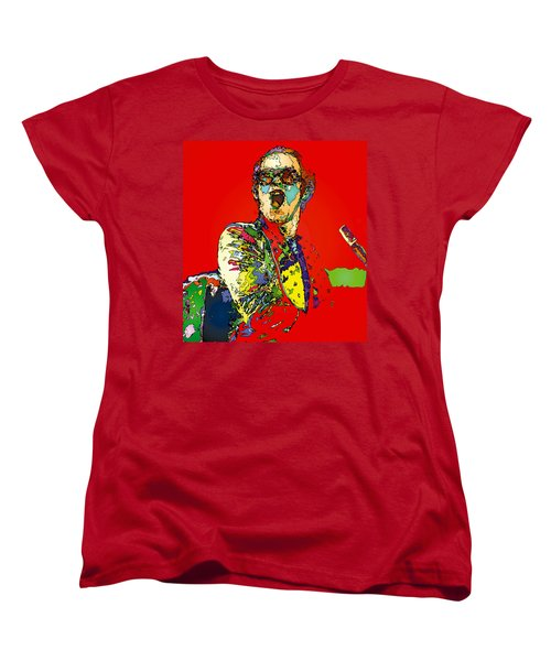 Elton In Red Women's T-Shirt (Standard Cut) by John Farr