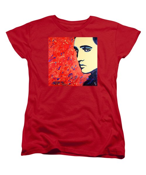 Women's T-Shirt (Standard Cut) featuring the painting Elvis Presley - Red Blue Drip by Bob Baker