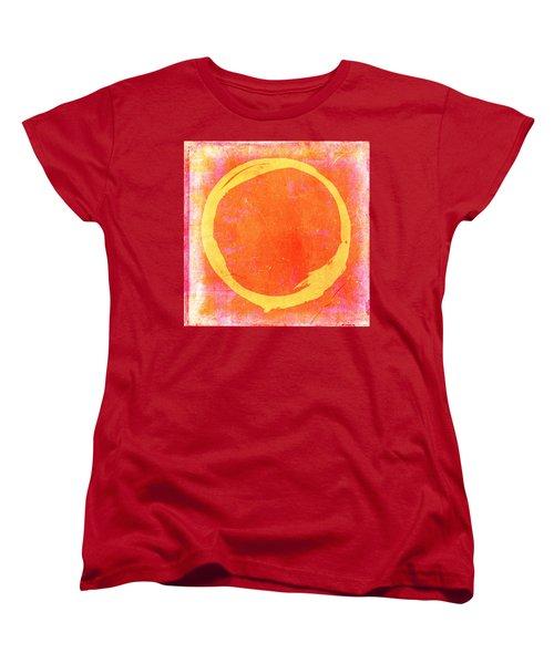 Enso No. 109 Yellow On Pink And Orange Women's T-Shirt (Standard Cut) by Julie Niemela