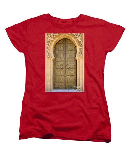 Women's T-Shirt (Standard Cut) featuring the photograph Entrance Door To The Mausoleum Mohammed V Rabat Morocco by Ralph A  Ledergerber-Photography