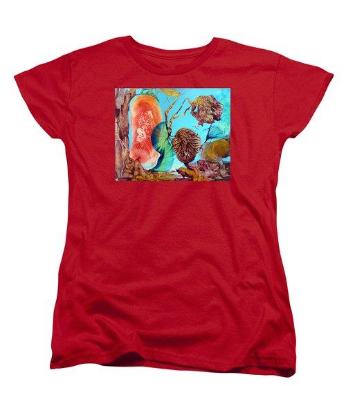 Women's T-Shirt (Standard Cut) featuring the painting Ernsthaftes Spiel Im Innerem Erdteil by Otto Rapp