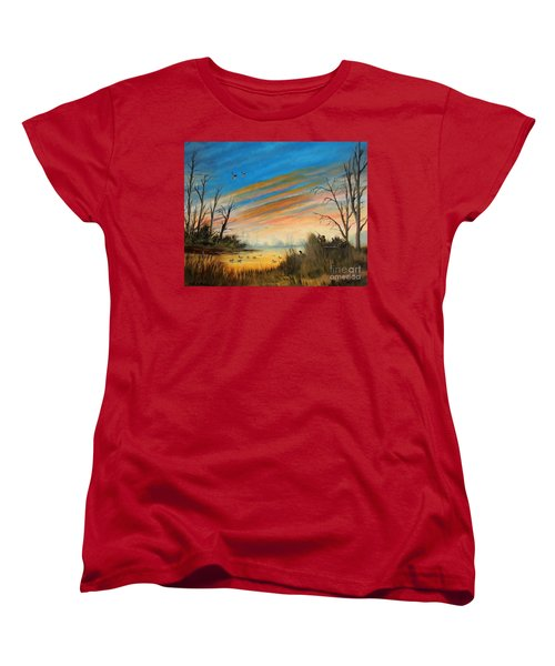 Evening Duck Hunt Women's T-Shirt (Standard Cut) by Bill Holkham