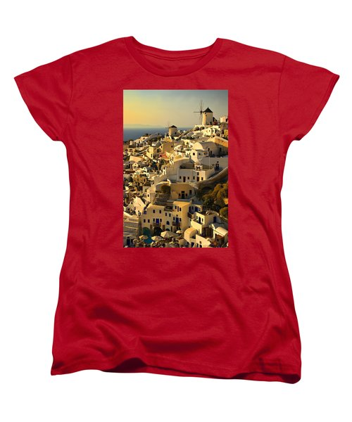 evening in Oia Women's T-Shirt (Standard Cut) by Meirion Matthias