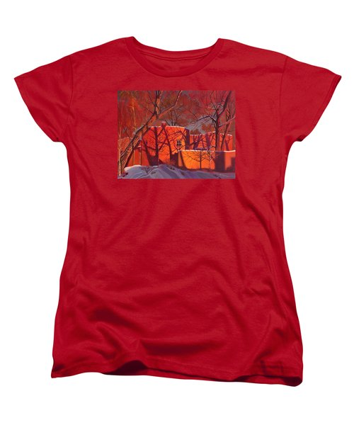Women's T-Shirt (Standard Cut) featuring the painting Evening Shadows On A Round Taos House by Art James West
