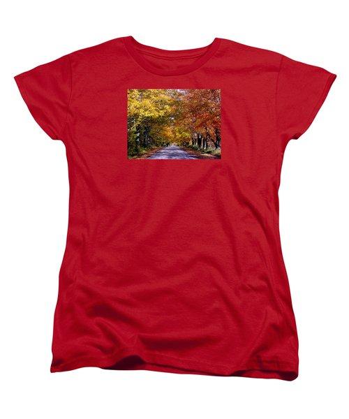 Fall Colors Near Sister Bay Women's T-Shirt (Standard Cut) by David T  Wilkinson