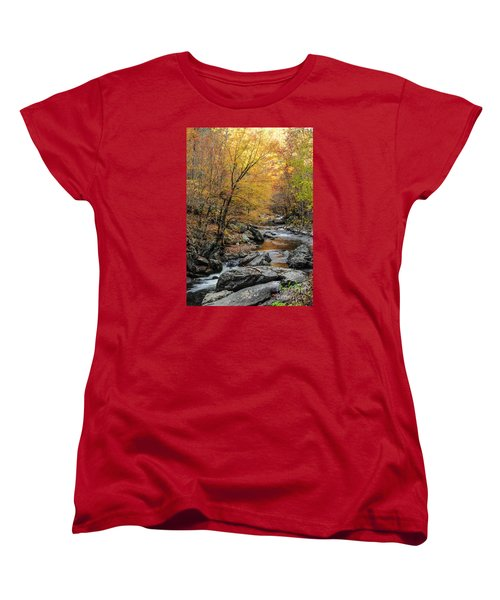 Women's T-Shirt (Standard Cut) featuring the photograph Fall Mountain Stream by Debbie Green