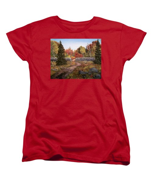 Women's T-Shirt (Standard Cut) featuring the painting Fall Path by Megan Walsh