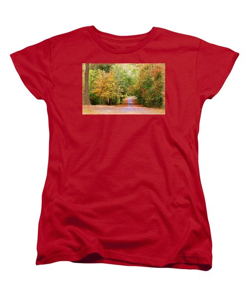 Women's T-Shirt (Standard Cut) featuring the photograph Fall Pathway by Judy Vincent
