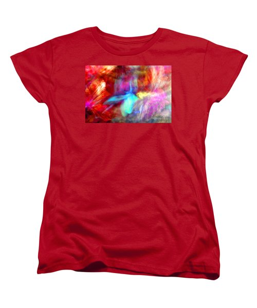 Falling Petal Abstract Red Magenta And Blue B Women's T-Shirt (Standard Cut) by Heather Kirk