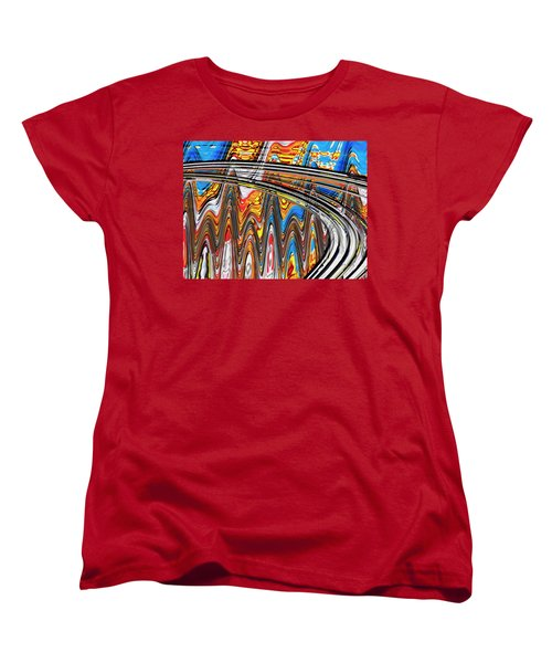 Women's T-Shirt (Standard Cut) featuring the digital art Highway To Nowhere Abstract by Gabriella Weninger - David