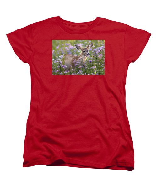 Fawn In Asters Women's T-Shirt (Standard Cut) by Sonya Lang