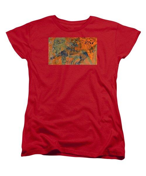 Feel Emotion Orange And Green Women's T-Shirt (Standard Cut) by Deprise Brescia