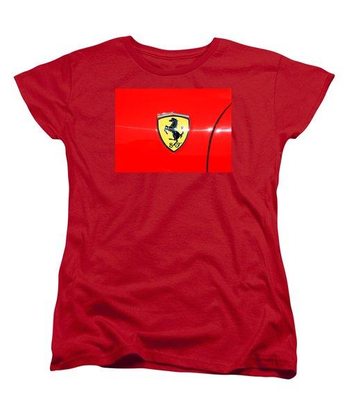 Ferrari Logo Women's T-Shirt (Standard Cut) by Valentino Visentini