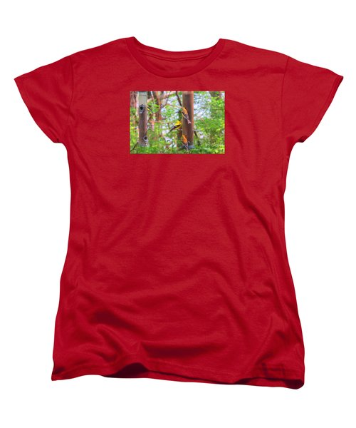 Women's T-Shirt (Standard Cut) featuring the photograph Finches Enjoying Their Snack by Tina M Wenger