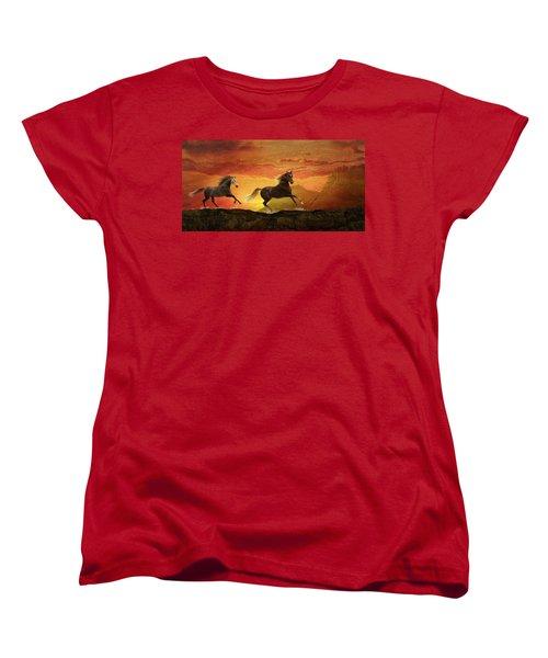 Fire Sky Women's T-Shirt (Standard Cut) by Melinda Hughes-Berland
