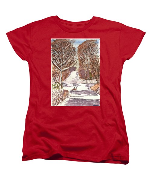 Women's T-Shirt (Standard Cut) featuring the painting First Footprints by Tracey Williams
