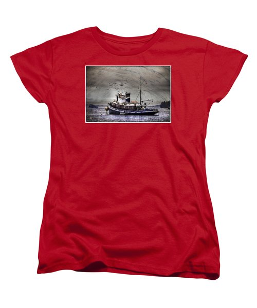 Women's T-Shirt (Standard Cut) featuring the mixed media Fishing Boat by Peter v Quenter
