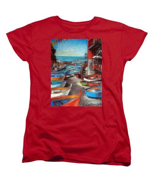 Fishing Boats In Riomaggiore Women's T-Shirt (Standard Cut)