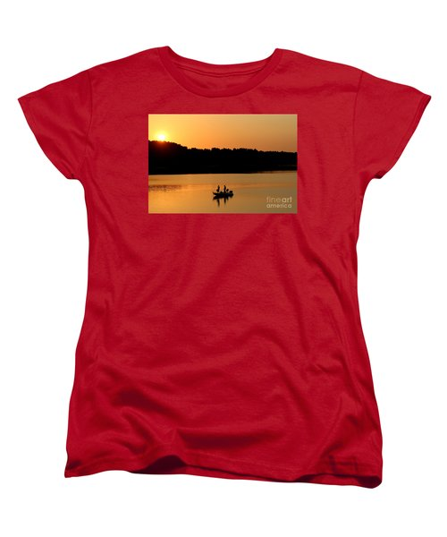 Women's T-Shirt (Standard Cut) featuring the photograph Fishing Silhouette  by Kathy  White