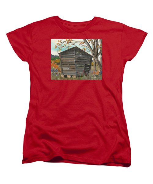 Women's T-Shirt (Standard Cut) featuring the painting Autumn - Shack - Woodshed by Jan Dappen
