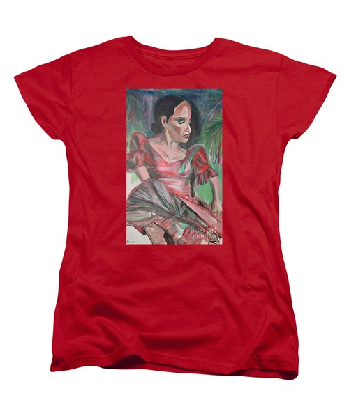 Women's T-Shirt (Standard Cut) featuring the painting Flamenco Solo by Ecinja Art Works