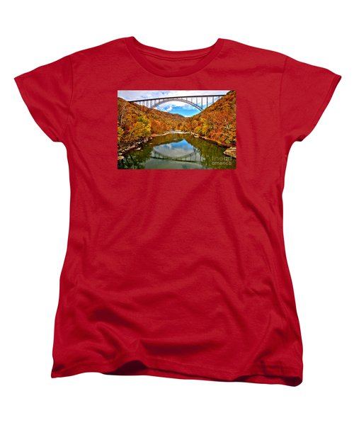 Flaming Fall Foliage At New River Gorge Women's T-Shirt (Standard Cut) by Adam Jewell