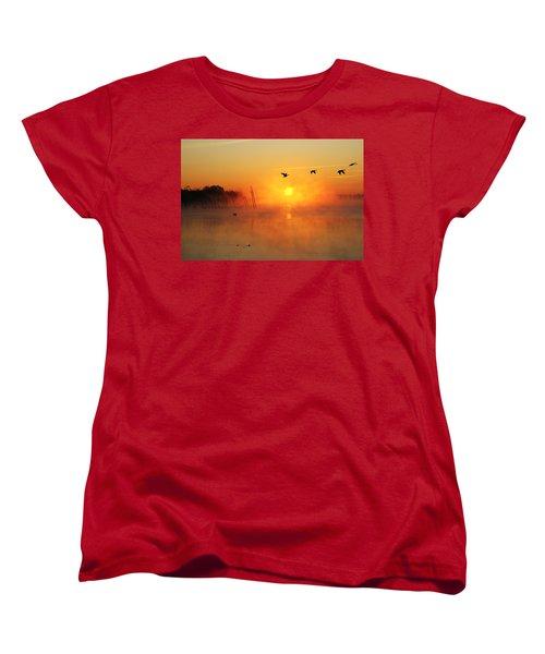 Flight At Sunrise Women's T-Shirt (Standard Cut) by Roger Becker