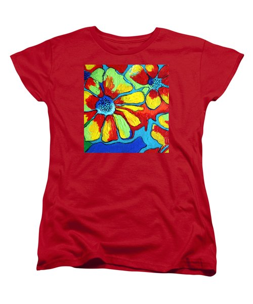 Women's T-Shirt (Standard Cut) featuring the painting Floating Flowers by Alison Caltrider