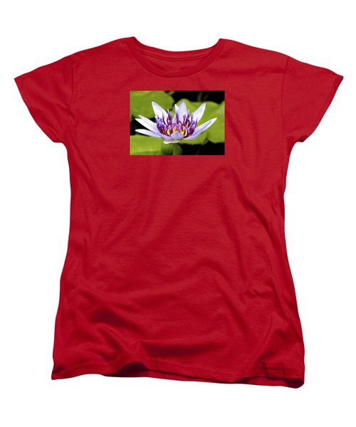 Women's T-Shirt (Standard Cut) featuring the photograph Floating Purple Waterlily by Lehua Pekelo-Stearns