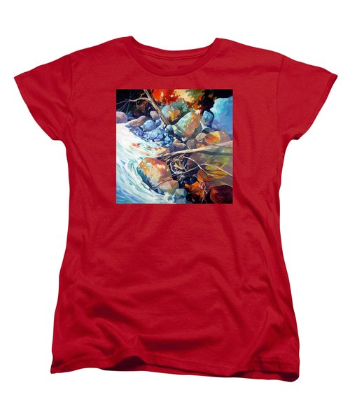 Women's T-Shirt (Standard Cut) featuring the painting Flood Plain by Rae Andrews