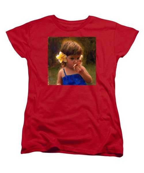 Flower Girl - Tropical Portrait With Plumeria Flowers Women's T-Shirt (Standard Cut) by Karen Whitworth