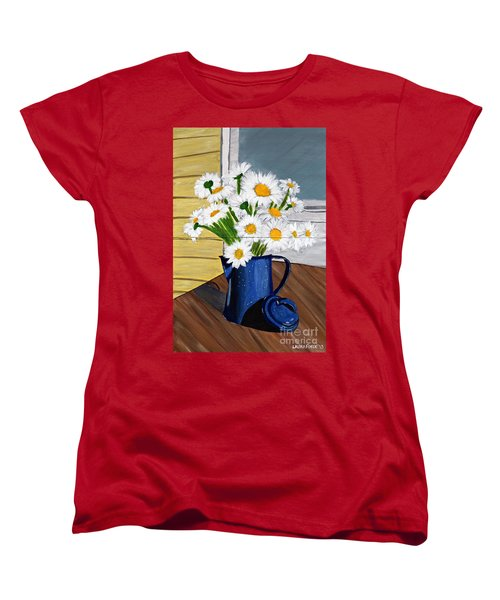 Women's T-Shirt (Standard Cut) featuring the painting Flowers In A Teapot by Laura Forde