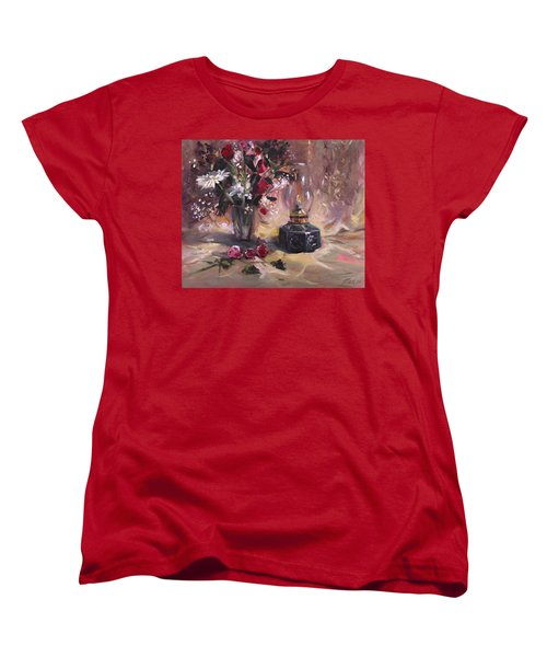Women's T-Shirt (Standard Cut) featuring the painting Flowers With Lantern by Nancy Griswold